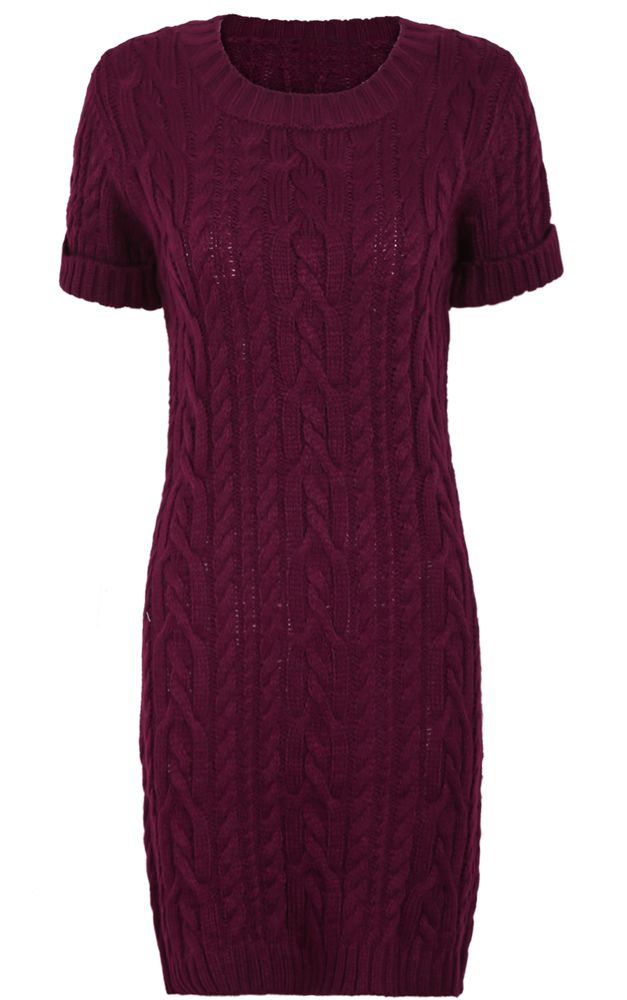 Burgundy Short Sleeve Cable Knit Sweater Dress (25)