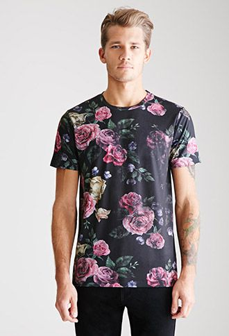 Men's floral print tshirt. #roses #manfloral MEN21