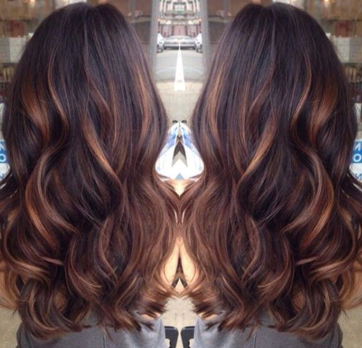 Dark brown hair with caramel lowlights