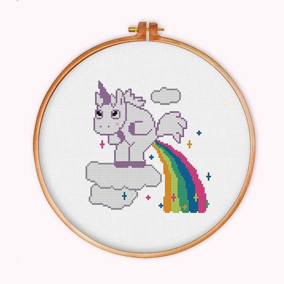 Unicorn Pooping Rainbow cross stitch pattern modern by ThuHaDesign