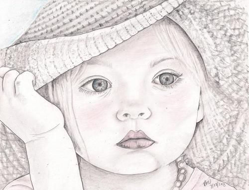 Innocence drawn by beverly marshall girl hat baby eye face young child kid drawings of facespencil
