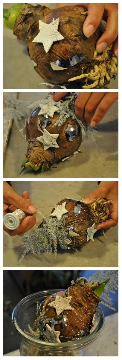 Modern kerststukje maken van een Amaryllis (kerstbloem) met kapotte kerstballen en Asparagus. - Christmaholic