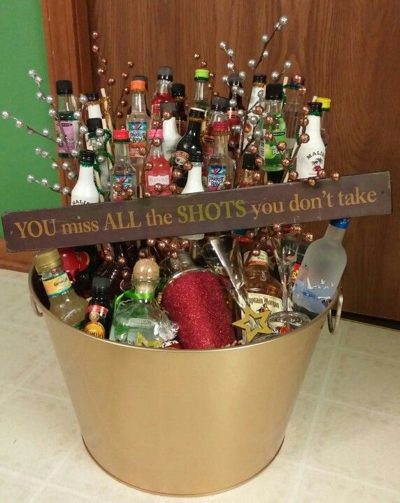 A liquor gift basket I made for a silent auction.  Can I just keep it for myself?