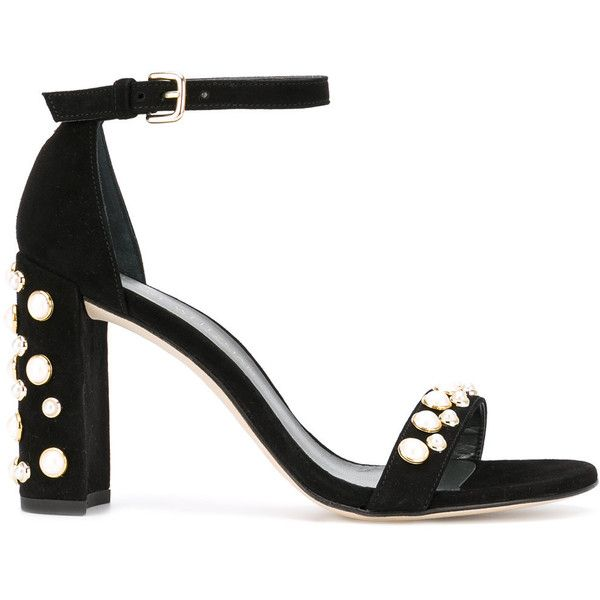 Stuart Weitzman - pearl embellished sandals - women - Leather/Suede -... (6.990 ARS) ❤ liked on Polyvore featuring shoes, sandals, black, suede sandals, white pearl sandals, embellished shoes, black leather sandals and black shoes