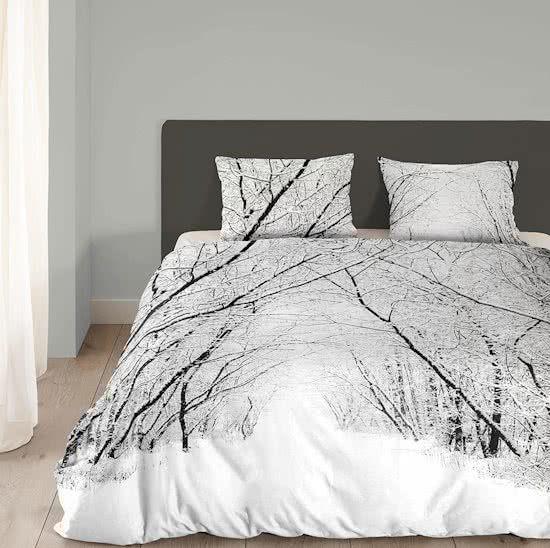 Good Morning Forest flanel dekbedovertrek White 1-persoons (140x200/220 cm + 1 sloop)