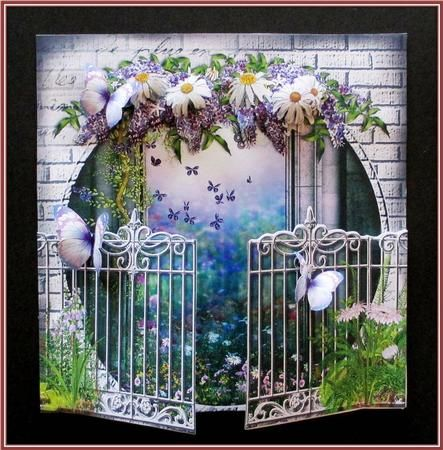Daisies Wisteria Gate View Card Kit on Craftsuprint designed by Robyn Cockburn - made by Rae Trees - I printed the design on good quality card 200gsm and cut out all the elements. I followed the very easy instructions to assemble the card. I used glue paste to adhere the sections and foam pads for the decoupage. Beautiful design, very easy to make and very impressive. A lovely concept Robyn. - Now available for download!