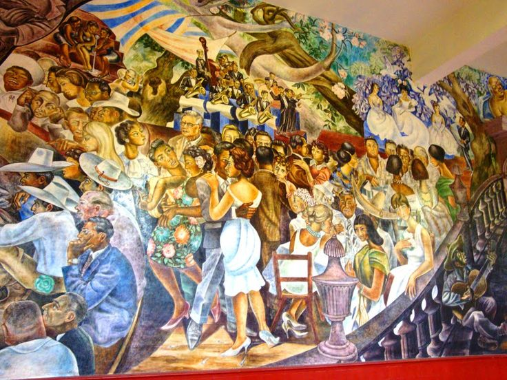 Interior Palacio de Gobierno, Aguascalientes. Detail of the mural depicting the Feria National de San Marcos (National Fair of San Marcos), which takes place annually around April 25th. The Feria de San Marcos has been celebrated in the city of Aguascalientes every year since 1828.