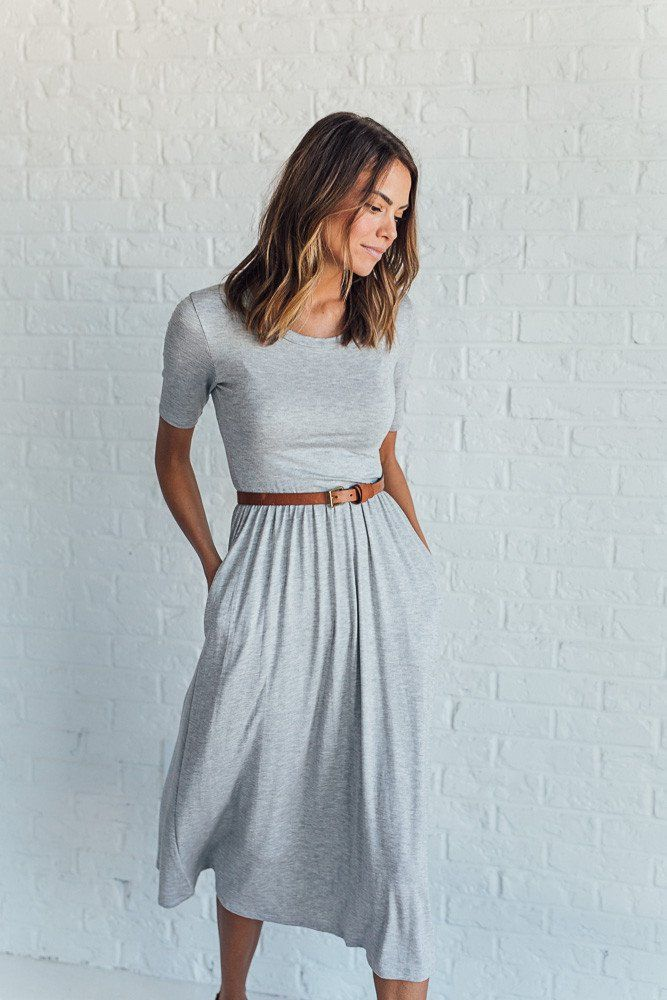 DETAILS: - Super comfy midi dress - Made from sustainable Bamboo - Pockets - Elastic waist - Fabric Content: 96% Bamboo, 4% Spandex - Model is wearing size Small MEASUREMENTS: - Bust: S= 28 in, M= 31