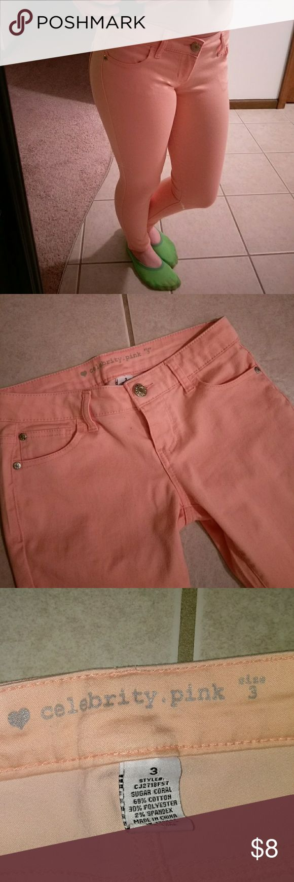 Peach Skinny Jeans Celebrity pink skinny jeans. Very comfy. No tears or stains. Only worn once. Jeans Skinny