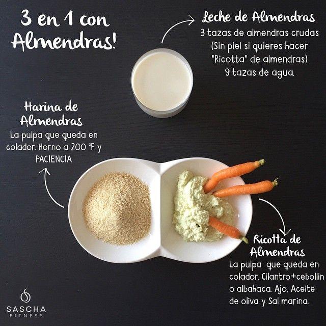 3 en 1. 1⃣LECHE DE ALMENDRAS. Cubre con agua 3 tazas de almendras sin piel (esto es si quieres hacer el queso, porque con las almendras con piel no puedes) por 8-10hrs en la nevera. Cuando ya haya pasado el tiempo bota agua. Y ahora vas a licuar 1 taza de almendras con 3 tazas de agua por 1 min. Repite 3 veces, porq son 3 tazas de almendras hidratadas, (una taza a la vez) Cuela con colador de tela, esos que se usan para el cafe. Guarda la leche TAPADA, puede durar hasta cinco días.Cuando…
