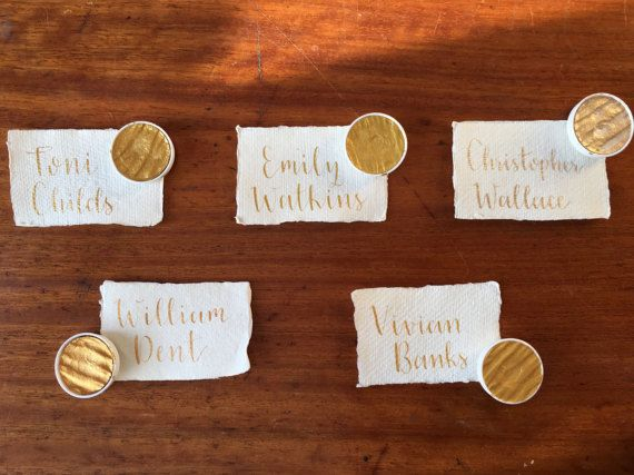 Metallic Wedding Place Cards Calligraphy by MomentsByRA on Etsy | Rustic Handmade Paper