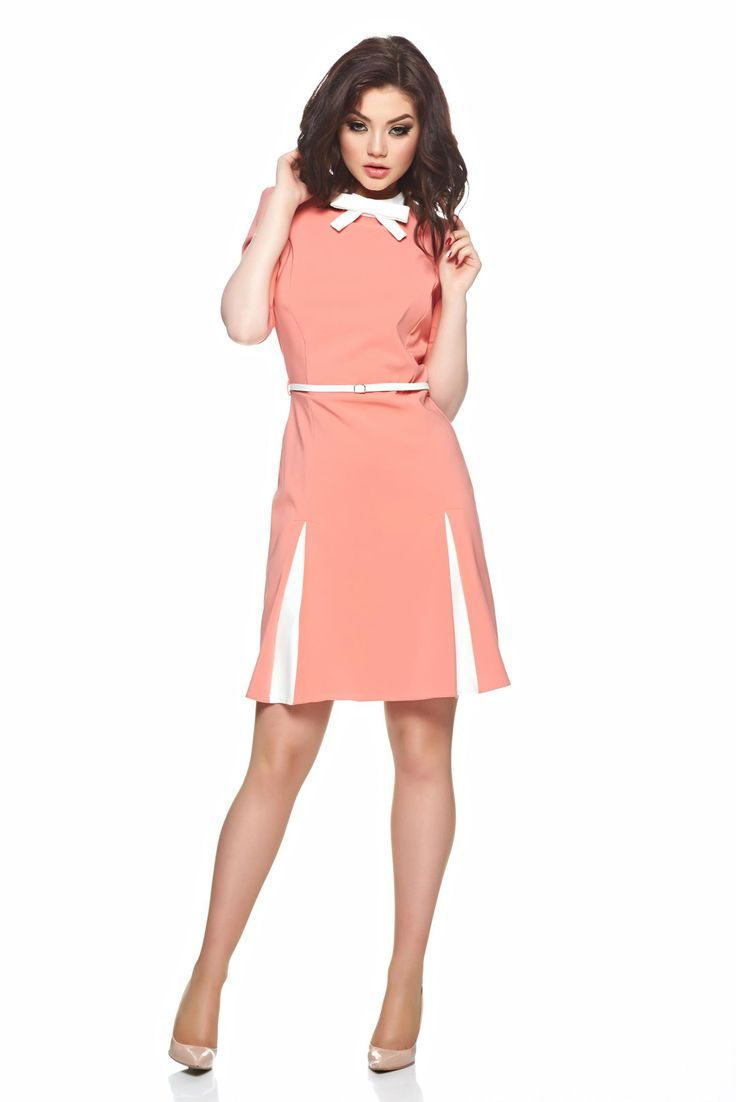 Comanda online, Rochie in clos PrettyGirl peach cu accesoriu tip curea. Articole masurate, calitate garantata!