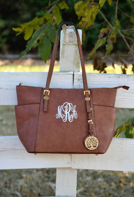 Monogram Purse, Brown Pocketbook, Brown  Vegan Leather Monogram Tote Purse, Brown Pocketbook , Designer Inspired Handbag,