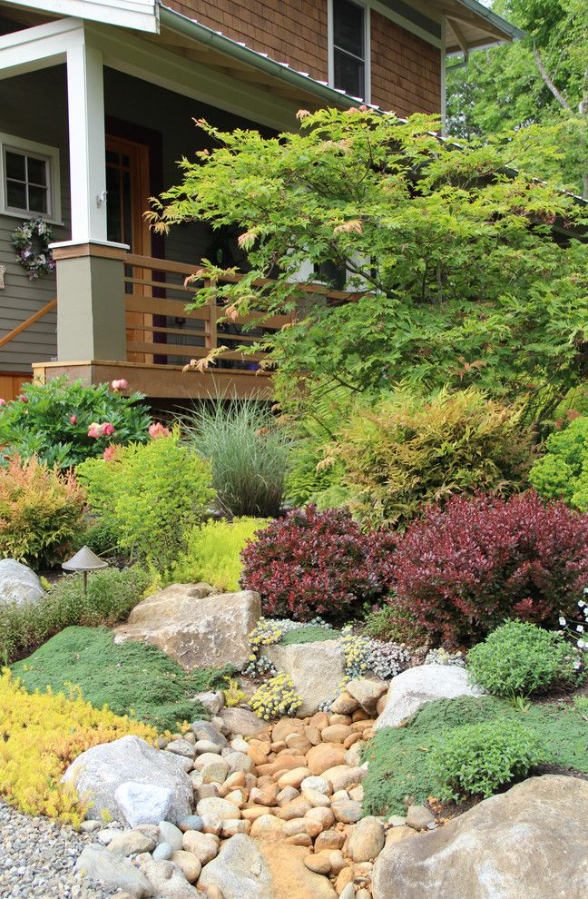 Dazzling Rock Garden mode Seattle Traditional Landscape Decorators with bainbridge island boulders colorful covered entry dry creek entrance gravel ground cover naturalistic Porch