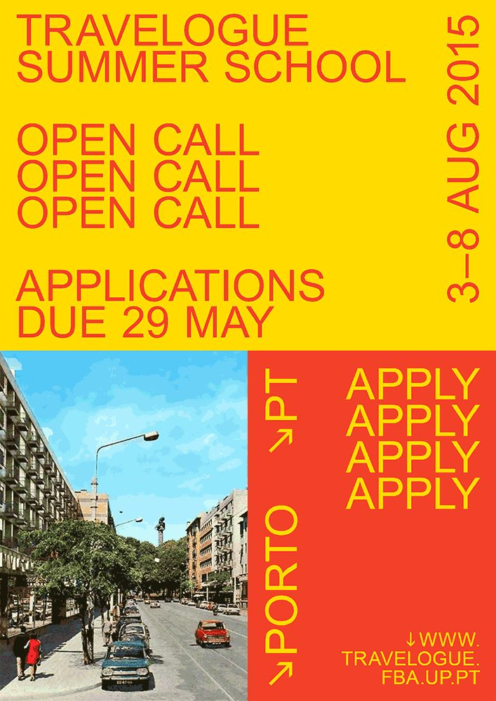 Travelogue Summer School  3–8.08.2015 → Porto (PT)  Travelogue Summer School is a one-week forum for debate and collaborative practice dedicated to professionals and students in the fields of design, architecture, arts and related disciplines.  Through...