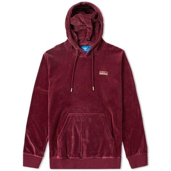 Adidas Velour Hoody ($79) ❤ liked on Polyvore featuring tops, hoodies, purple hoodie, purple top, sweatshirt hoodies, hooded pullover and purple hoodies
