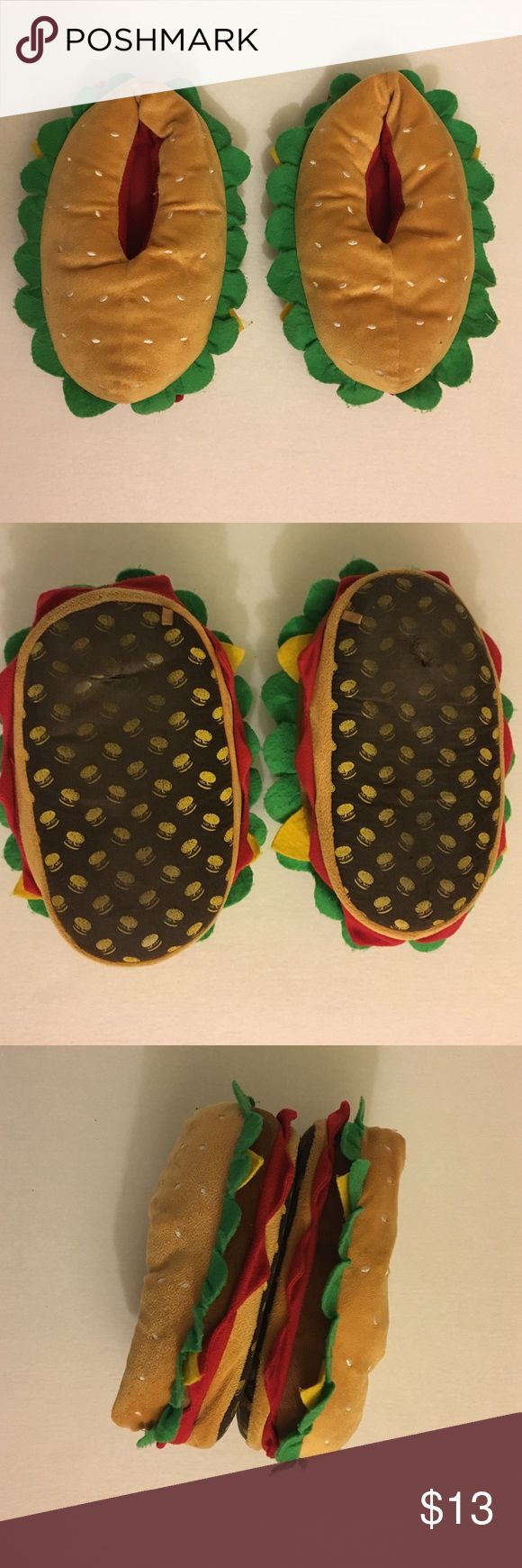Hamburger Slippers Used. Okay/Good condition overall. Right side slipper has a tear. Bottom of both Slippers have a whole bit fixable. I marked size 6 says that was my original size but I think either 6-7 size would fit. Shoes Slippers