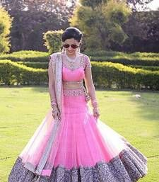 Buy pink net embroidered unstitched lehenga choli ghagra-choli online