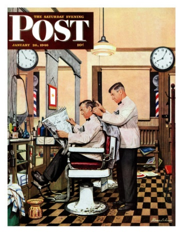 """""""Barber Getting Haircut,"""" Saturday Evening Post Cover, January 26, 1946 by Stevan Dohanos"""