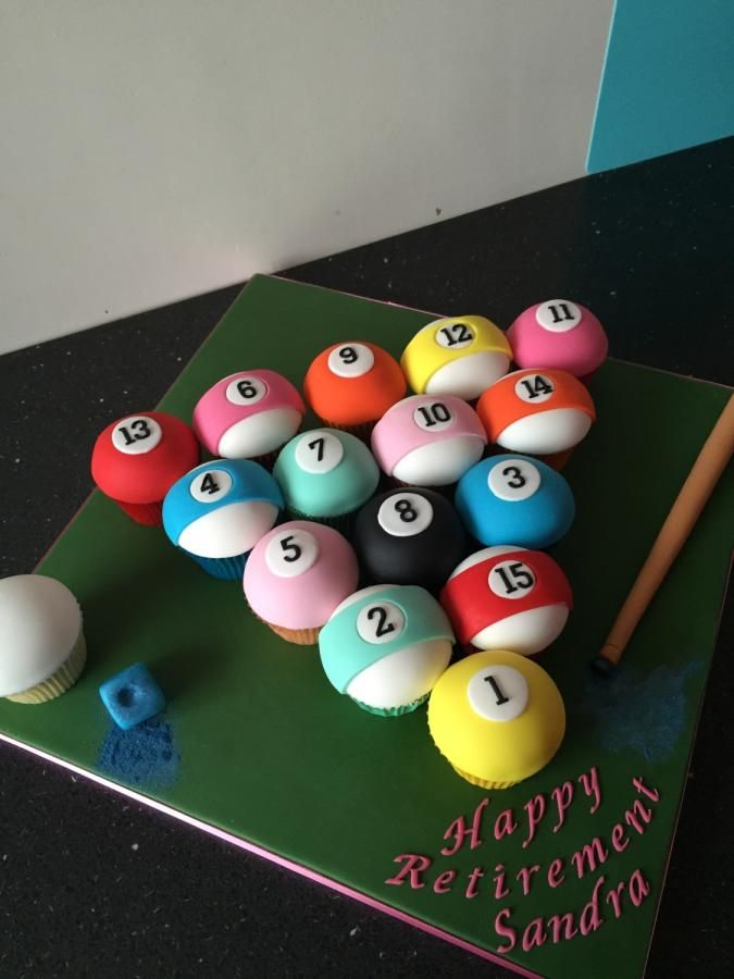 Pool Table Balls Cupcskes   Cake By Donnajanecakes