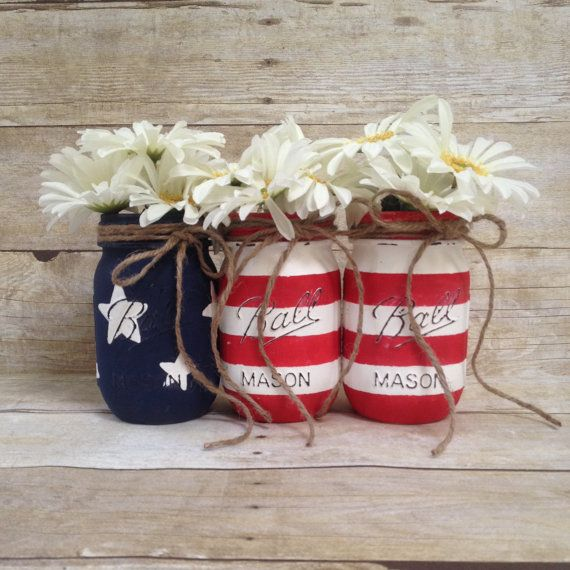 Patriotic Fourth of July Painted Mason Jars by JarHeaven on Etsy