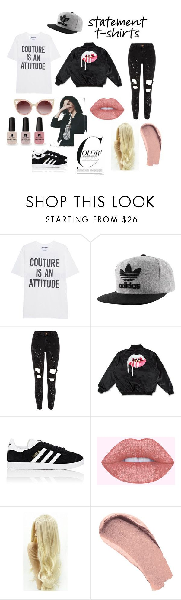 """""""fake ppl showin fake luv"""" by queen-vic ❤ liked on Polyvore featuring Moschino, adidas Originals, River Island, adidas, Burberry, WithChic and Victoria's Secret"""