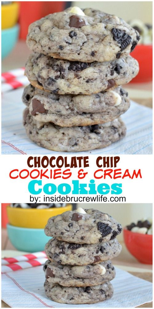 Chocolate Chip Cookies and Cream Cookies - lots of chocolate and cookie chunks make these soft cookies a fun treat! Great dessert recipe!