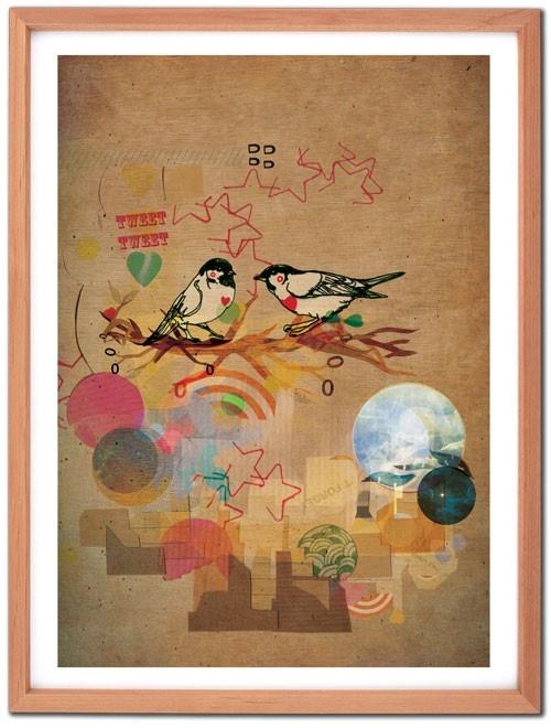 Tweet Me Birds A4 Fine Art Print. by Jo Cheung