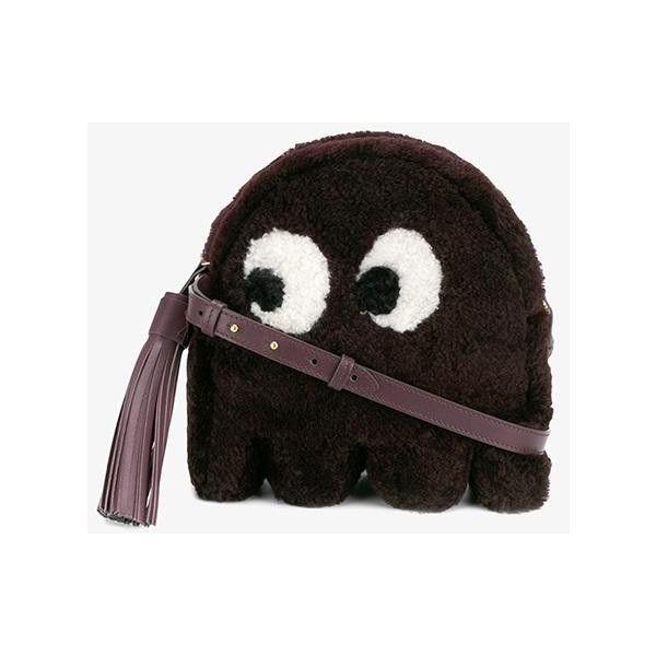 Anya Hindmarch 'Ghost' Shearling Crossbody Bag (1 928 AUD) ❤ liked on Polyvore featuring bags, handbags, shoulder bags, anya hindmarch crossbody, shearling purses, anya hindmarch, anya hindmarch purse and shearling handbags