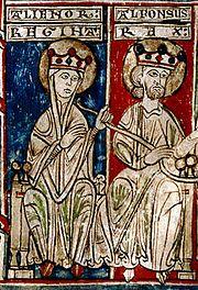 Miniatura del Tumbo menor de Castilla que representa  Alfonso VIII, rey de Castilla entre 1158 y 1214, con su mujer Leonor de Plantagenet.
