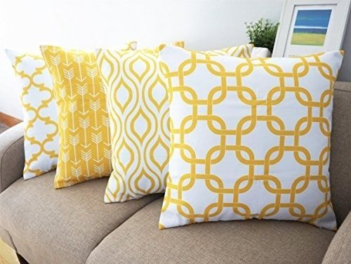 Canvas Cotton Throw Pillows Cover Couch Set 4 Lemon Yellow Accent 18 X 18-inch #Howarmer