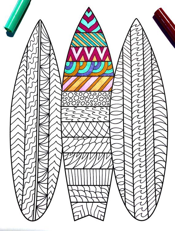 Surfboards Pdf Zentangle Coloring Page In 2020 Coloring Pages