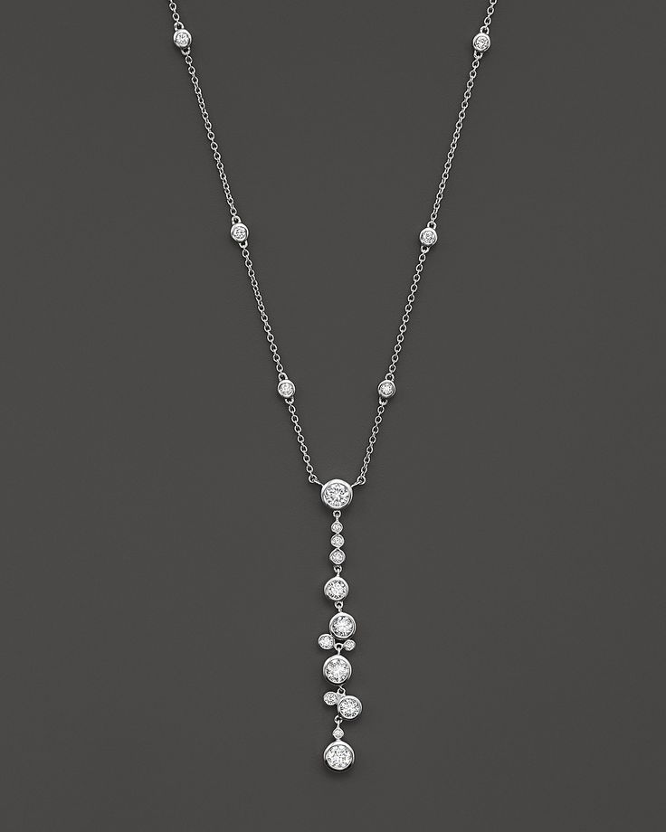 Diamond Bezel Set Necklace in 14K White Gold, .95 ct. t.w. | Bloomingdale's