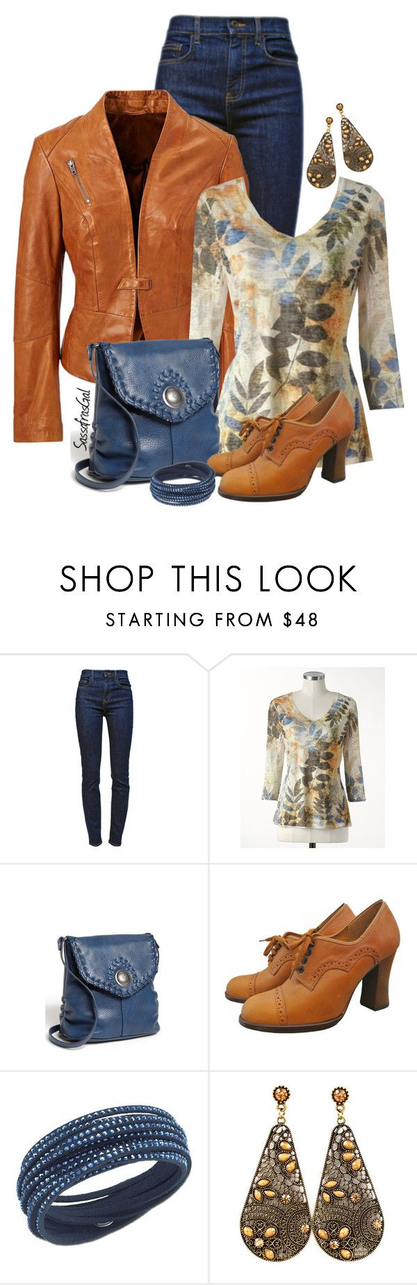 """Camel Jacket"" by sassafrasgal ❤ liked on Polyvore featuring Proenza Schouler, Coldwater Creek, Jessica Simpson and Swarovski"