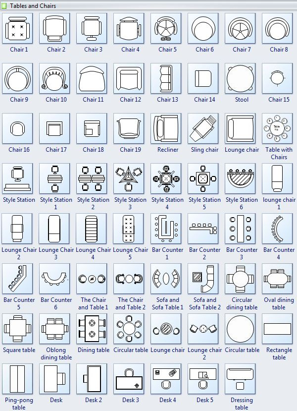 Tables And Chairs Symbols For Floor Plan Interior Design