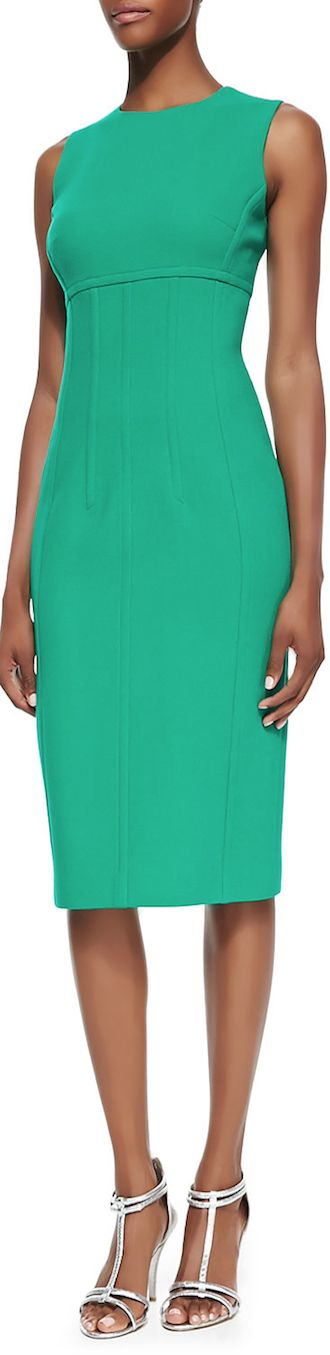 Michael Kors Stretch Boucle Crepe Sleeveless Dress in Emerald LOOKandLOVEwithLOLO: Dress for Success