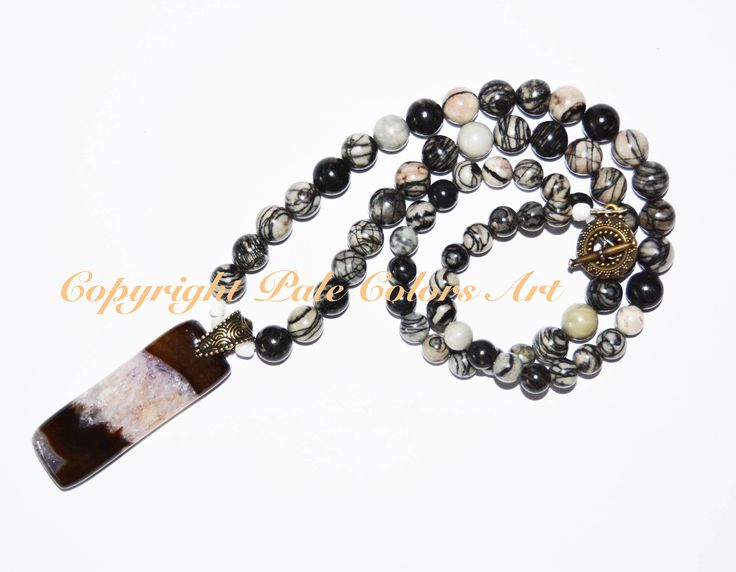 """26"""" Black and White Beaded Necklace,Black and White Mesh Jasper Necklace,Druzy StoneAgate Pendant,Neutral Necklace,Neutral Gemstone Necklace"""