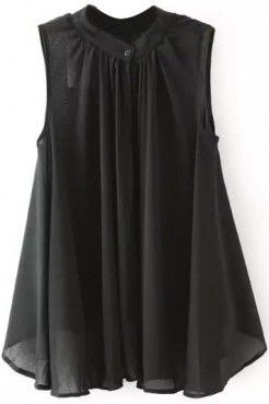 LUCLUC Black One Button Sleeveless Chiffon Blouse I could do this style for myself but ad sleeve.