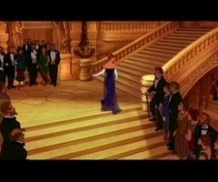 Anastasia disney cartoon, blue dress on sweeping stairs