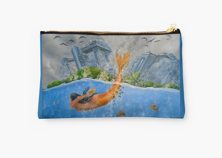Studio Pouch,  mermaid,aqua,blue,cool,beautiful,unique,trendy,artistic,unusual,accessories,for sale,design,items,products,ideas,carry all pouch,redbubble