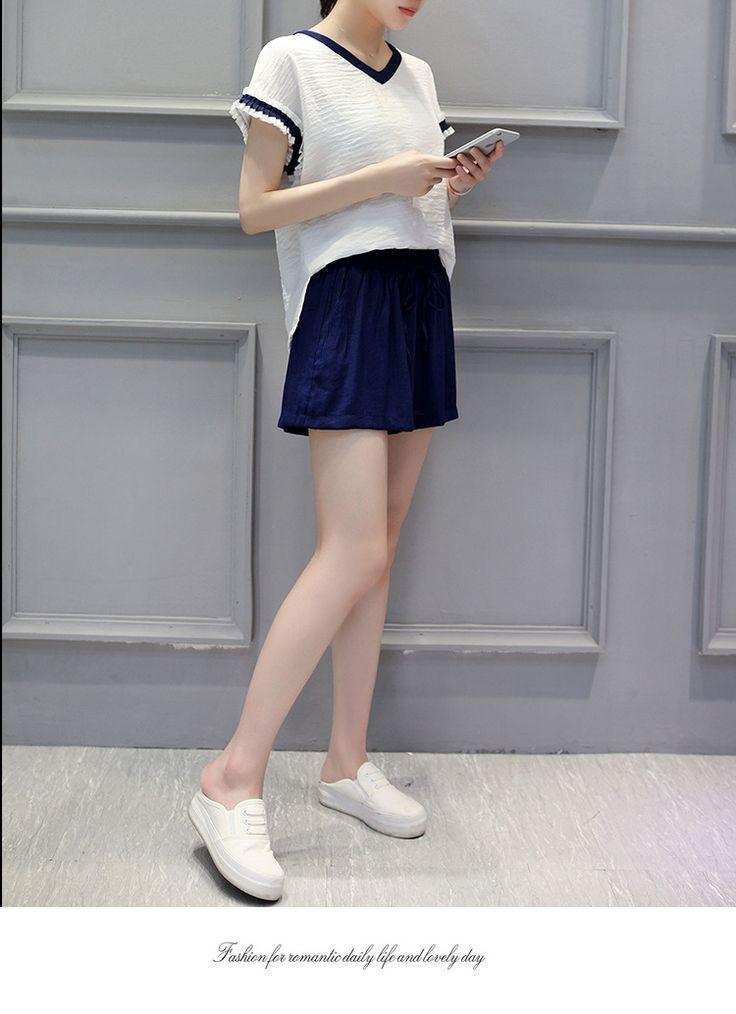 Jixin Man 2016 новая волна Корейский рубашка с короткими рукавами широкие брюки ноги двухкусочные моды дамы костюм женский лето -tmall.com Lynx