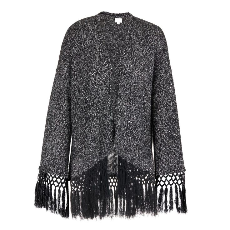 Jinxleton Fringed Cardigan Mid Grey