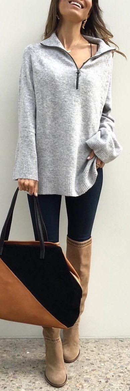 #winter #outfits heather-grey half-zip sweater
