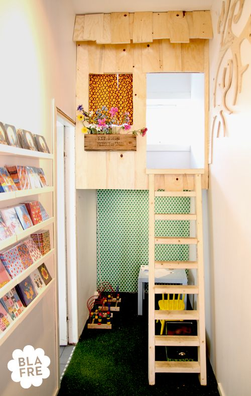 Indoor playhouse/tree house--very cool.