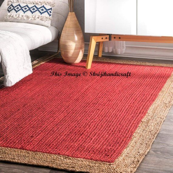 Indian Braided Floor Rug Handmade Jute Rug Natural Jute Oval Rag