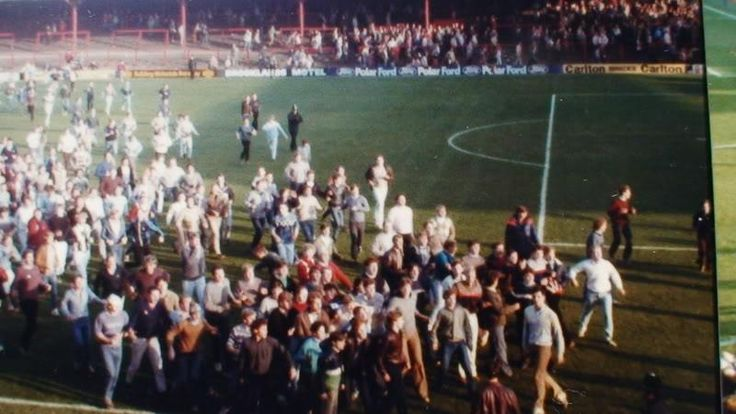 Leeds on pitch at Barnsley 84 taken from home end