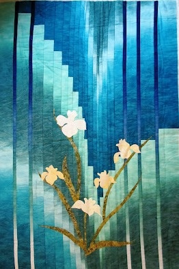 """Still Waters - an easy bargello-style quilt made from one, beautiful color-gradation fabrics (in the background) - McKenna Ryan """"Silent Inspirations"""" collection"""
