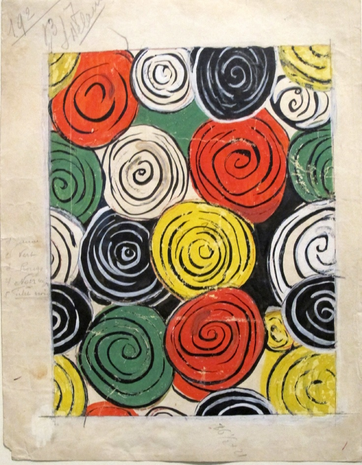 Design 1317, working drawing for fabric (1934) by French painter & textile designer Sonia Delauney (1885-1979). Colorprint, pencil & ink on paper