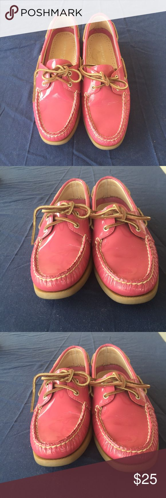 Shiny pink  Sperry top -Siders flat Shoes Shinny pink leather upper top-sider shoes /size M /Great condition . Sperry Top-Sider Shoes Lace Up Boots