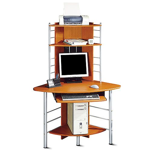 Corner Tower Computer Desk Honey Pine And Silver Price